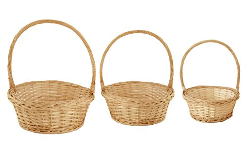 Wald Imports Natural Willow  Basket/Planter Assortment, Set of 3 (White Wicker Easter Basket)