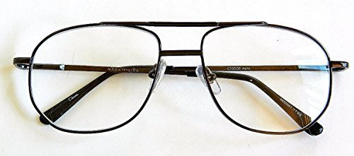 Magnivision +2.25 AVIATOR Gunmetal Frame Reading Glasses with Spring Hinges-M21 by Foster - Online Frames Aviator