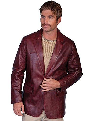 Supple Leather Blazer (Scully Men's Lamb Leather Blazer reg Black Cherry 40 R)
