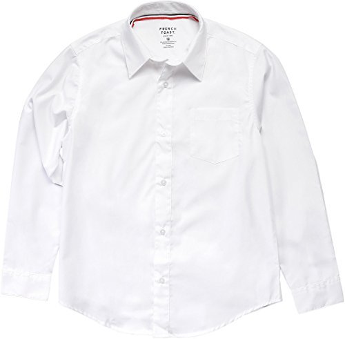 French Toast School Uniform Boys Long Sleeve Classic Dress Shirt, White, 20 Husky