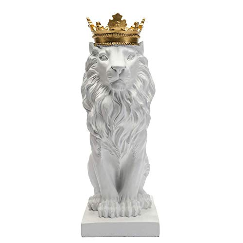 Artgenius 7.3IN Royal King Crown Lion Statue Figurine Decorations (White)