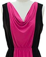 """Colorblock Maxi-dress"" Fuschia and Black - S"
