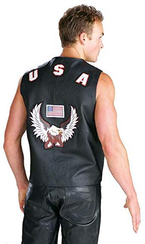 Men's 203 American Eagle USA Leather Vest - X-Large