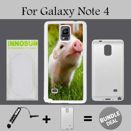Cute Piglett Baby Pig Custom Galaxy Note 4 Cases-White-Plastic,Bundle 2in1 Comes with Custom Case/Universal Stylus Pen by innosub (Baby Pig 4 Case Note)