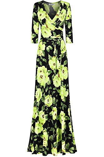 - Bon Rosy Women's #MadeInUSA 3/4 Sleeve V-Neck Printed Maxi Faux Wrap Floral Dress Summer Wedding Guest Party Bridal Baby Shower Maternity Nursing Black Green S