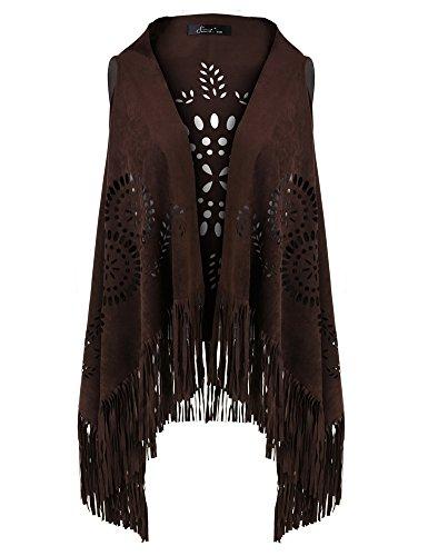 Ferand Suedette V-Neck Front-Open Fringe Sleeveless Cardigan Gilet Vest with Punch Hole Patterns for Ladies, Dark Brown