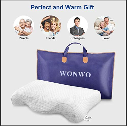Wonwo Memory Foam Pillow, Contour Orthopedic Cervical Pillow for Head Support, Neck Pain, Bed Pillow for Back Stomach Side Sleepers with Washable Cover Washable Pillowcase