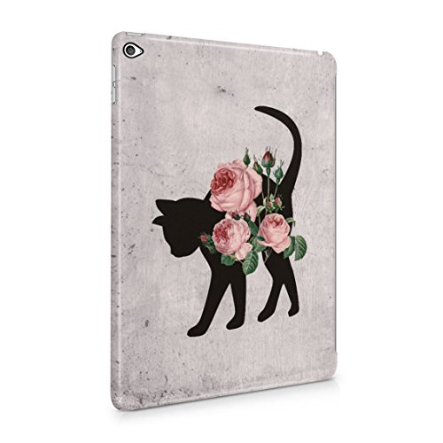 Bloomy Pink Roses Blossom Floral Wildflower Cat Silhouette Plastic Tablet Snap On Back Case Cover Shell For iPad Air 2