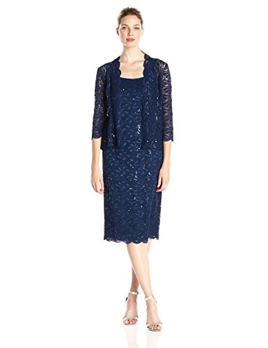 Alex Evenings Women's 16 Tea Length Dress and Jacket (Petite and Regular Sizes), Navy, 16