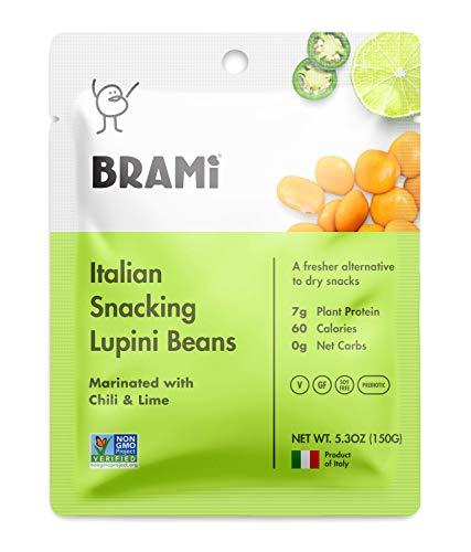 BRAMI Lupini Beans Snack, Chili & Lime | 7g Plant Protein, 0g Net Carbs | Vegan, Vegetarian, Keto, Mediterranean Diet | 5.3 Ounce (8 Count)