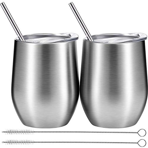 BBTO 2 Sets 12 oz Stainless Steel Stemless Wine Glass, Unbreakable Double Wall Insulate Cup Tumbler with Lids for Wine, Coffee, Including 2 Pieces Straws and 2 Pieces Brushes (silver)