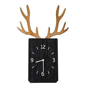 CAIHONG Reloj Despertador hogar Creativo Madera asta Reloj de Pared Pared Mute Reloj de Pared: Amazon.es: Hogar