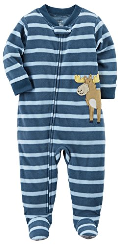 Carter's Baby Boys' 1 Pc Fleece Footed Sleeper Pajamas (18 Months, Striped Moose)
