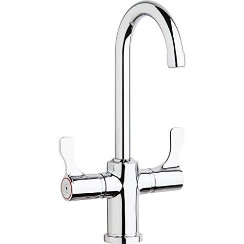 (Elkay LKD208813C Deck Mount Faucet with Gooseneck Spout and Twin Lever Handles)