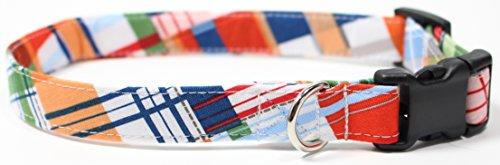 Ruff Roxy Gone Coastal Plaid, Summer Shirt Pattern Designer Dog Collar, Adjustable Handmade Fabric Collars (M - 3/4