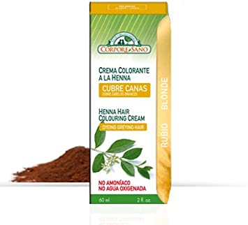 Crema Colorante Henna Rubio 60 ml de Corpore Sano