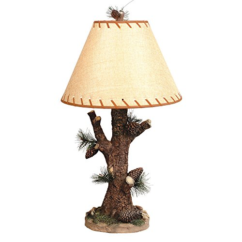 (Black Forest Decor Woodlands Pinecone Cabin Lamp)