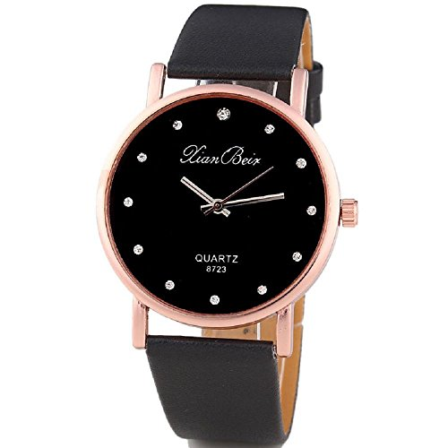 Fashion Women Diamond Case Leatheroid Band Round Dial Quartz Wristwatch Hosamtel (Black)