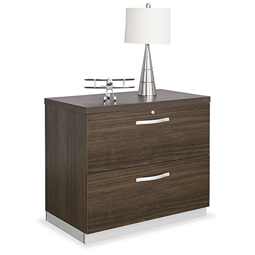 Two Drawer Lateral File 36″W Boardwalk Walnut Laminate/Silver Laminate Base/Silver Hardware