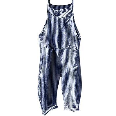 JustWin Women Striped Pocket Strap Bib Jumpsuit Casual Pocket Bandage Sleeveless Loose Stripe Playsuit Romper Jumpsuit