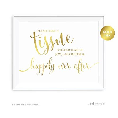 Andaz Press Wedding Party Signs, Metallic Gold Ink Print,...