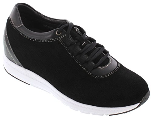 Toto H41031-2.4 Inches Taller - Height Increasing Elevator Shoes - Black Fashion Sneakers