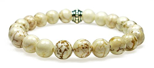 MAGNESITE 8mm Round Genuine Crystal Gemstone Beaded Bracelet on Elastic Cord (Precious Semi Magnesite)