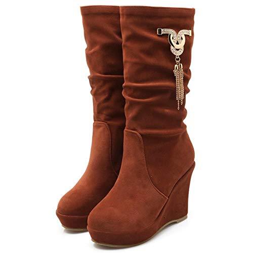 RAZAMAZA Zeppa Slouch Stivali Donne On Pull Frangia Stivali marrone Rosso Br7BZqwf
