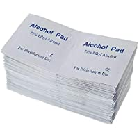 Box of 100pc of Alcohol Pads Alcohol Wipes Pads 75% Ethyl Antibacterial Prep Swabs Cleaning Wipe 6 x3 cm