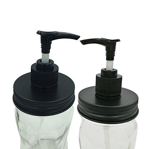 Rust Resistant and Leakage Proof Matt Black Soap Dispenser Pump Lids Kit for Mason, Ball, Canning Jars (2 Pack, Regular Mouth)