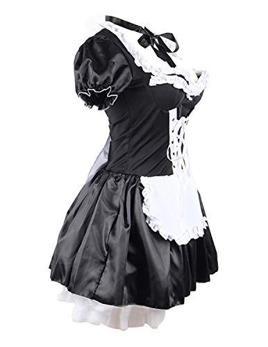 58f10d95e31 Quesera Women's French Maid Costume Sexy Black Satin Layered Halloween  Fancy Dress