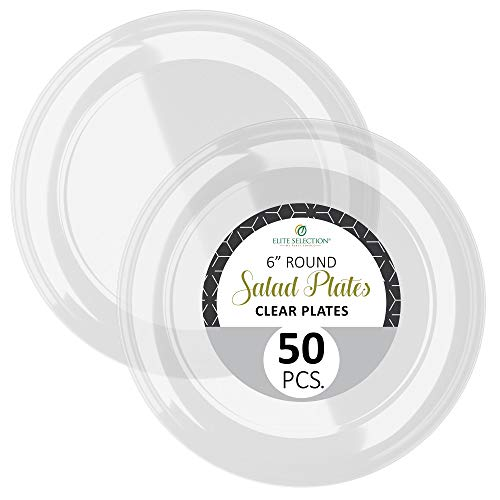 Disposable Clear Plastic Plates - 50 Pack Hard Round 6 Plate for Dinner, Salad, Dessert - Elegant Design for Wedding, Birthday, Party - by Elite Selection