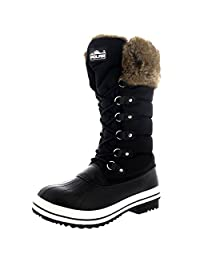 Womens Nylon Warm Side Zip Fur Duck Muck Lace Up Rain Winter Snow Boots - 6 - BLK37 YC0116