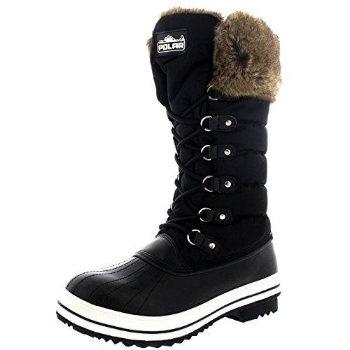 Womens Nylon Warm Side Zip Duck Muck Lace Up Rain Winter Snow Boots - 6 - BLK37 (Nylon Snow Boots)