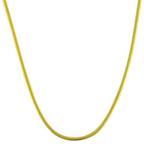 3mm thick 14k gold plated on solid sterling silver 925 Italian round SNAKE chain necklace chocker bracelet anklet - 15, 20, 25, 30, 35, 40, 45, 50, 55, 60, 65, 70, 75, 80, 85, 90, 95, 100cm