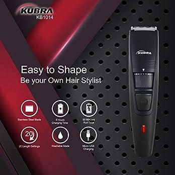 Kubra KB-1014 USB 45 min runtime, Adjustable 20 Length Setting, Ultra Sleek Beard Trimmer for Men (Black)