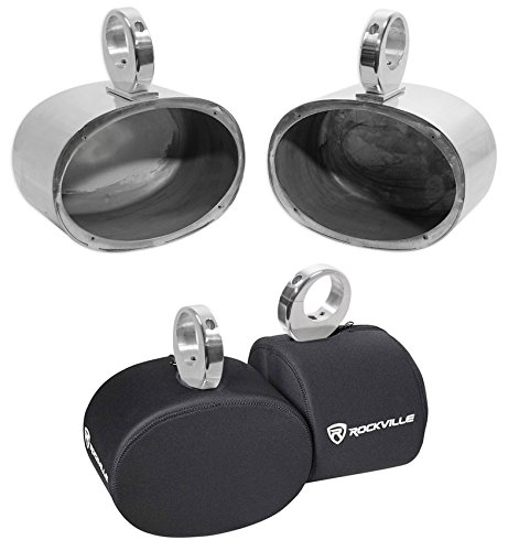 Pair Rockville MAC69S 6x9 Silver Aluminum Wakeboard Tower Speaker Pods+Covers (Best Affordable Wakeboard Boats)