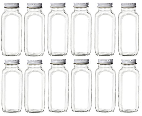 Nakpunar 12 pcs 16 oz Glass French Square Bottles with White Plastisol Lined (French Candy Jar)