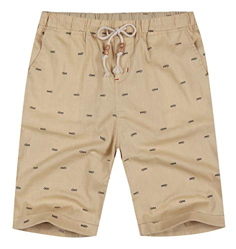 (NITAGUT Men's Linen Casual Classic Fit Short (L(US 38-40), Khaki)