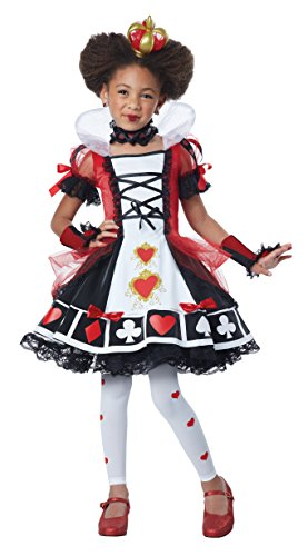 California Costumes Deluxe Queen Of Hearts Costume, Red/Black/White, (Childrens Queen Of Hearts Costume)