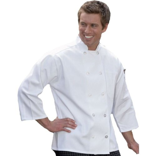Uncommon Threads 3/4 Sleeve Chef Coat in White - Large