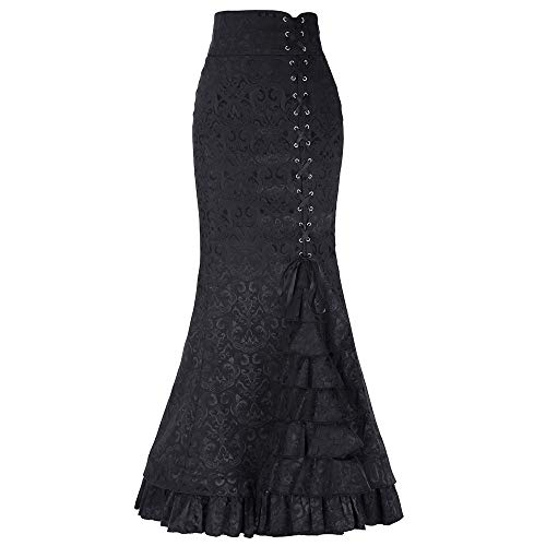 Long Fishtail Skirt Black - TOTOD Skirts for Women, Fashion Women High Waist Pleated A Line Long Skirt -Ladies Front Slit Belted Maxi Skirt (Black-Fishtail Skirt, Medium)