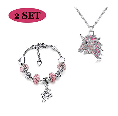 JACKY CHARMING Pink Unicorn Crystal Zircon Necklace and Charm Bracelet Bangle Set for Women Girls Jewlery Birthday Gift]()