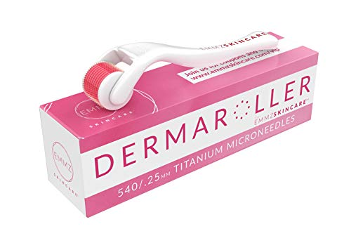 Derma Roller Kit for Face and Body - Cosmetic Microneedle Roller for Face 540 Titanium Micro Needles 0.25mm - Microdermabrasion Exfoliating Roller - Includes Ebook and Storage Case