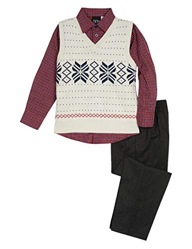TFW Dresswear Little Boys' Sweater Vest Set, Snowflake Cream, 4