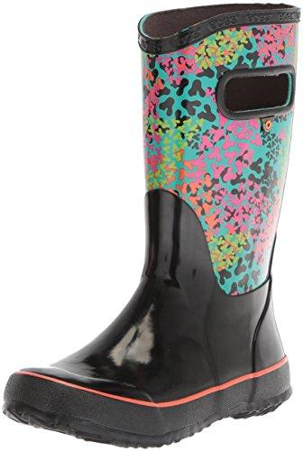 Bogs Unisex-Kids Rainboot Footprints Rain Boot, Black/Multi, 12 M US Little Kid