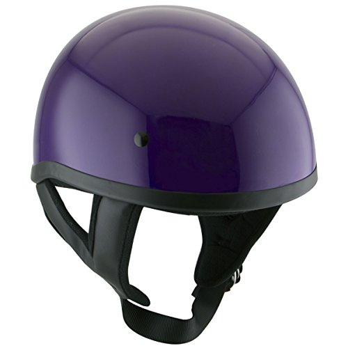 Skull Cap Dot Helmets Motorcycle (Outlaw T68 DOT Purple Motorcycle Skull Cap Half Helmet - Medium)