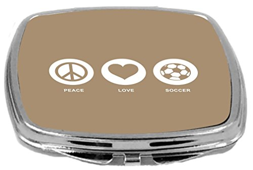 Rikki Knight Peace Love Soccer Design Compact Mirror, Brown, 2 Ounce by Rikki Knight