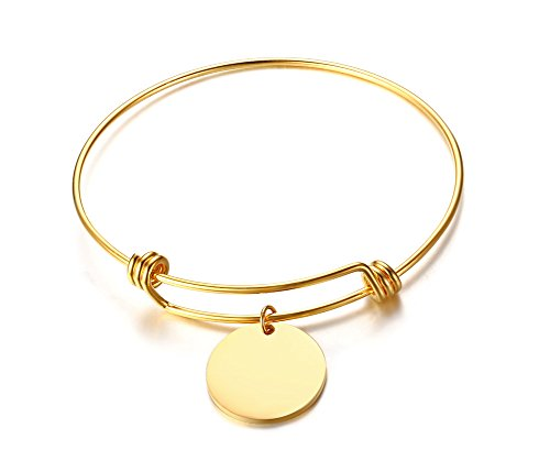 - XUANPAI Stainless Steel 18k Gold Plated Disc Expandable Wire Bracelet Bangle,Graduation Inspirational Gift