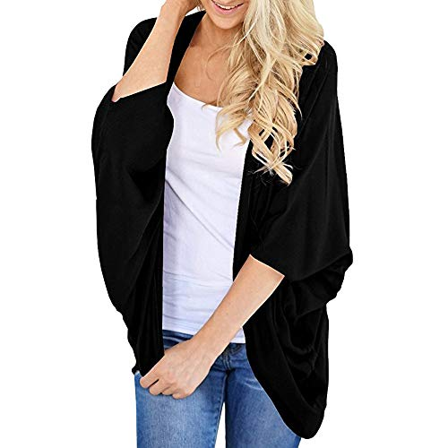 Toimoth Women's Basic Solid Color Kimono Cardigans Loose Sleeves Cover ups(Black,XL)